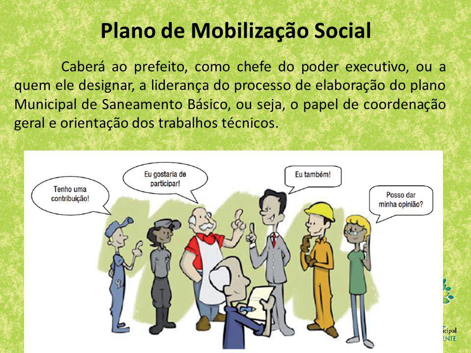 Plano de Mobilização Social Caberá ao prefeito, como chefe do poder executivo, ou a quem ele designar, a liderança do processo de elaboração do plano