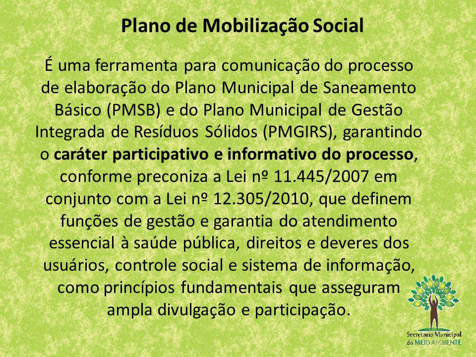 Plano de Mobilização Social É uma ferramenta para comunicação do processo de elaboração do Plano Municipal de Saneamento Básico (PMSB) e do Plano Muni