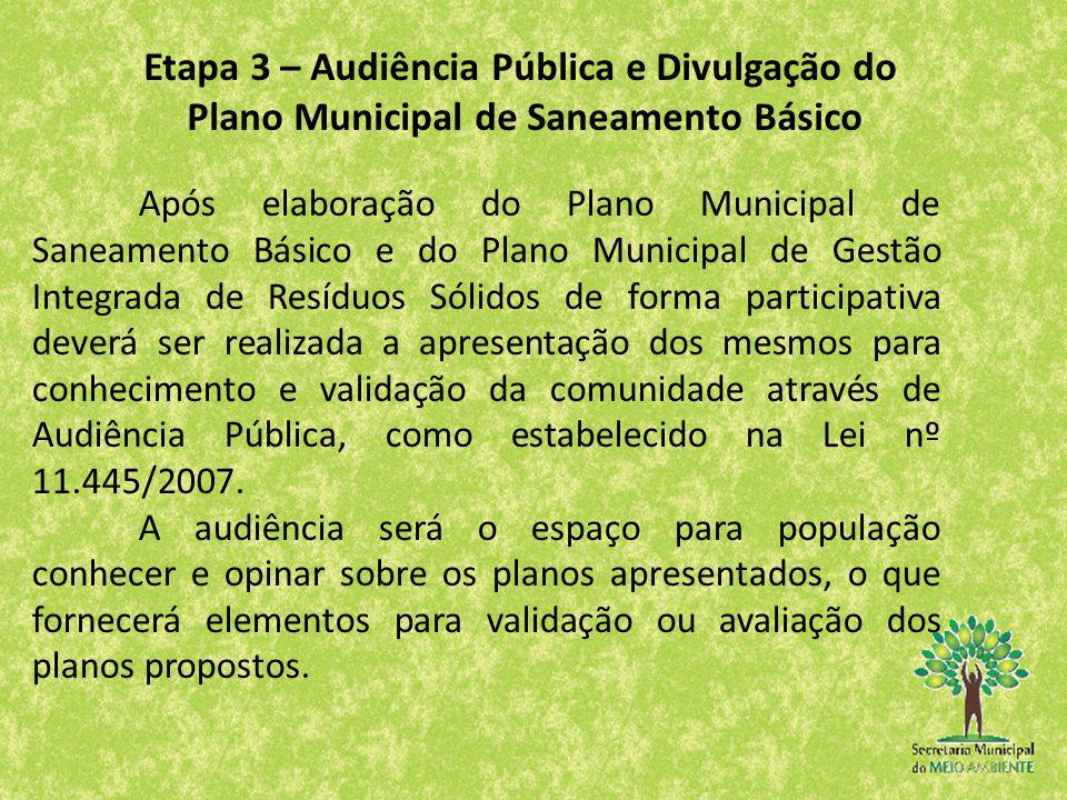 Após elaboração do Plano Municipal de Saneamento Básico e do Plano Municipal de Gestão Integrada de Resíduos Sólidos de forma participativa deverá ser