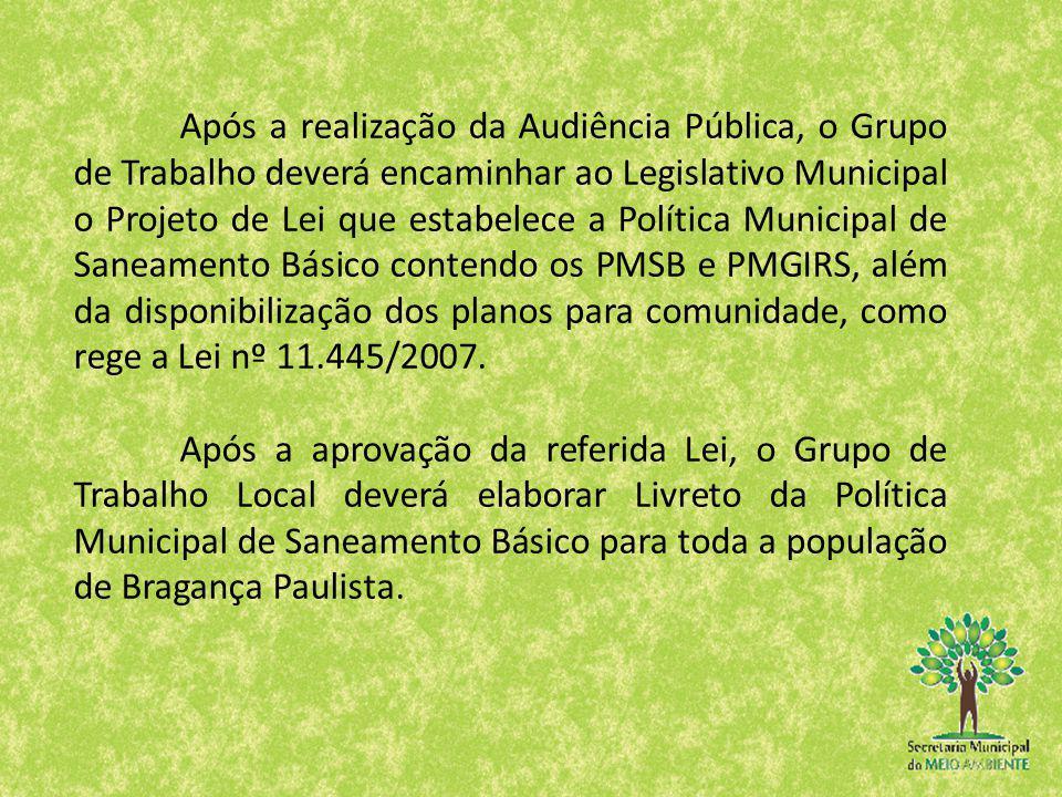 Após a realização da Audiência Pública, o Grupo de Trabalho deverá encaminhar ao Legislativo Municipal o Projeto de Lei que estabelece a Política Muni