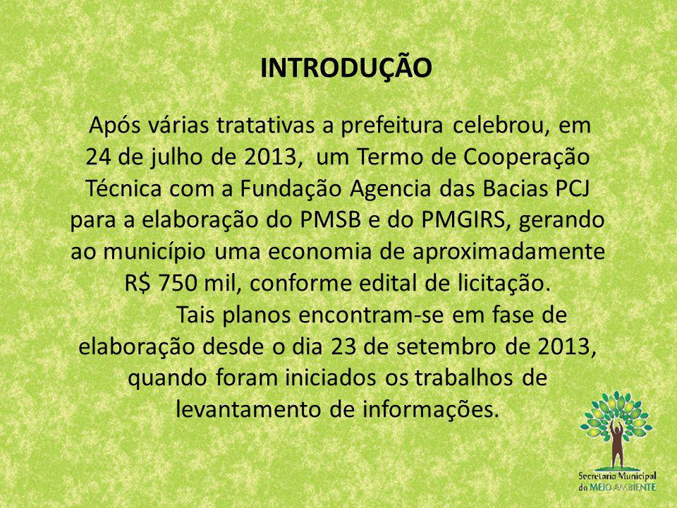 INTRODUÇÃO Após várias tratativas a prefeitura celebrou, em 24 de julho de 2013, um Termo de Cooperação Técnica com a Fundação Agencia das Bacias PCJ