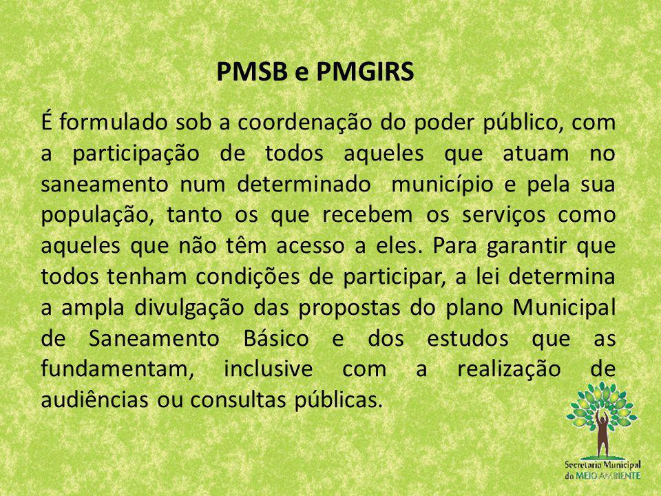 É formulado sob a coordenação do poder público, com a participação de todos aqueles que atuam no saneamento num determinado município e pela sua popul