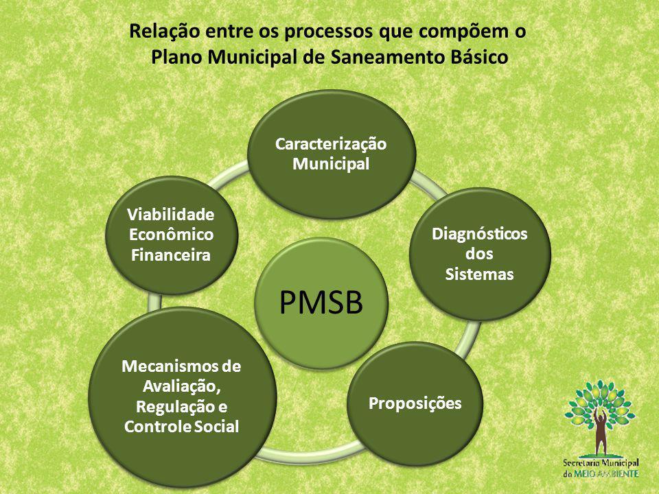 PMSB Caracterização Municipal Diagnósticos dos Sistemas Proposições Mecanismos de Avaliação, Regulação e Controle Social Viabilidade Econômico Finance