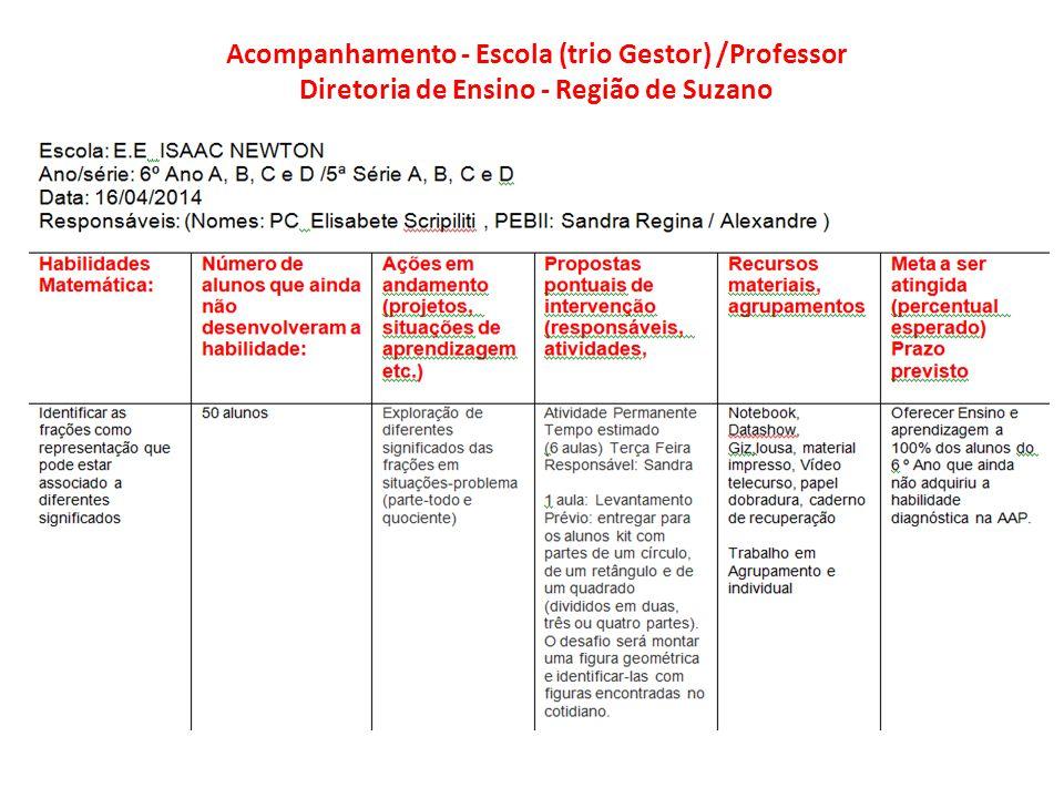 Acompanhamento Escola( Trio Gestor) / Professor e Diretoria de Ensino –Região de Suzano