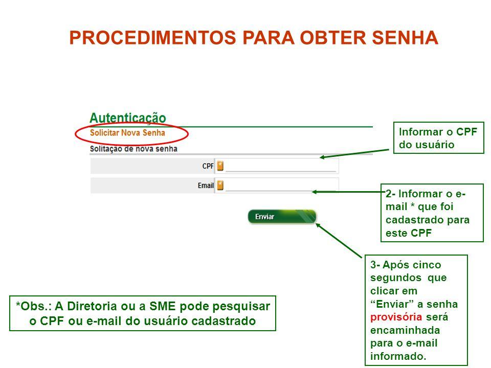 4 *Obs.: A Diretoria ou a SME pode pesquisar o CPF ou e-mail do usuário cadastrado PROCEDIMENTOS PARA OBTER SENHA Informar o CPF do usuário 2- Informa