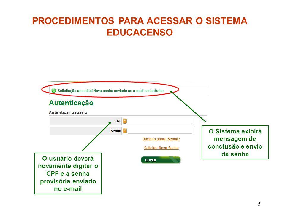 5 PROCEDIMENTOS PARA ACESSAR O SISTEMA EDUCACENSO O Sistema exibirá mensagem de conclusão e envio da senha O usuário deverá novamente digitar o CPF e