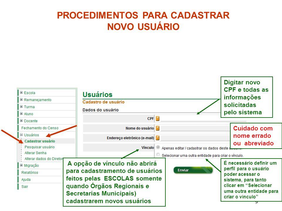 9 PROCEDIMENTOS PARA CADASTRAR NOVO USUÁRIO Digitar novo CPF e todas as informações solicitadas pelo sistema A opção de vínculo não abrirá para cadast