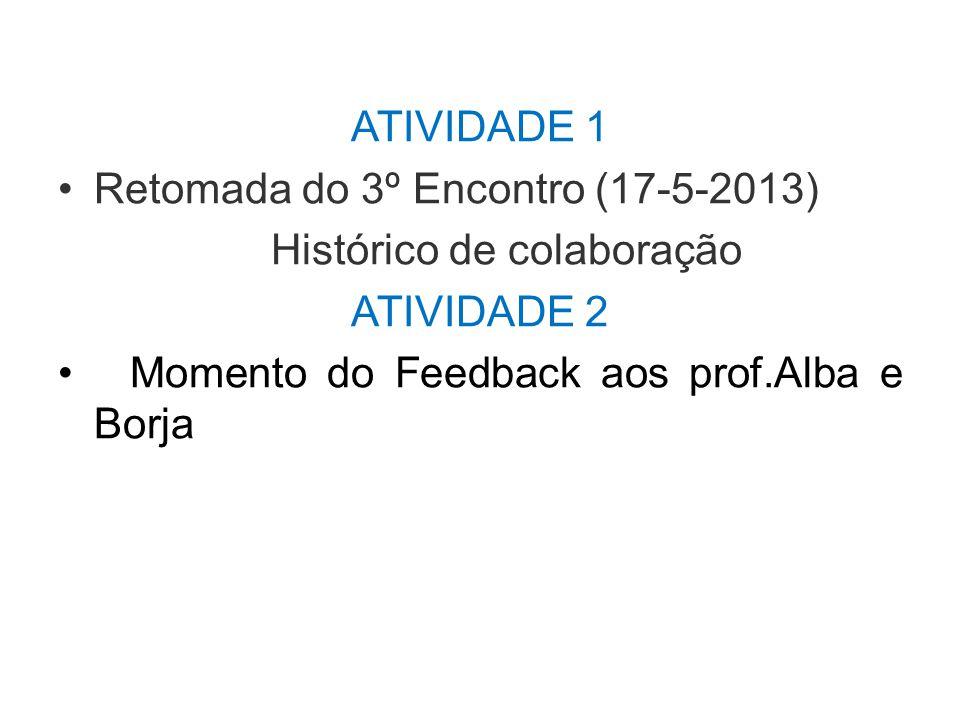 ATIVIDADE 1 Retomada do 3º Encontro (17-5-2013) Histórico de colaboração ATIVIDADE 2 Momento do Feedback aos prof.Alba e Borja