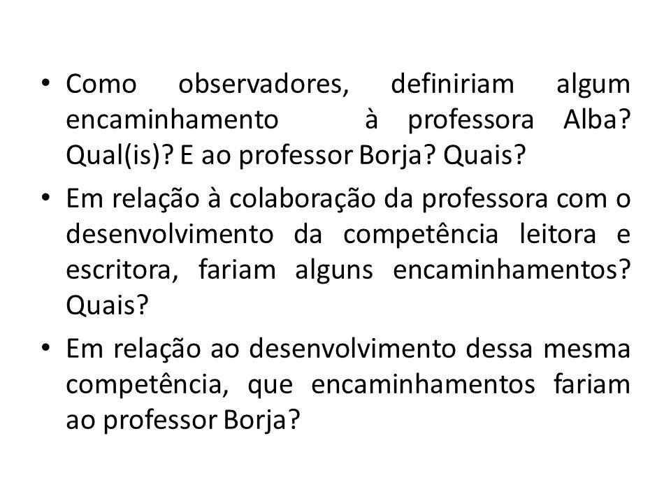 Como observadores, definiriam algum encaminhamento à professora Alba? Qual(is)? E ao professor Borja? Quais? Em relação à colaboração da professora co