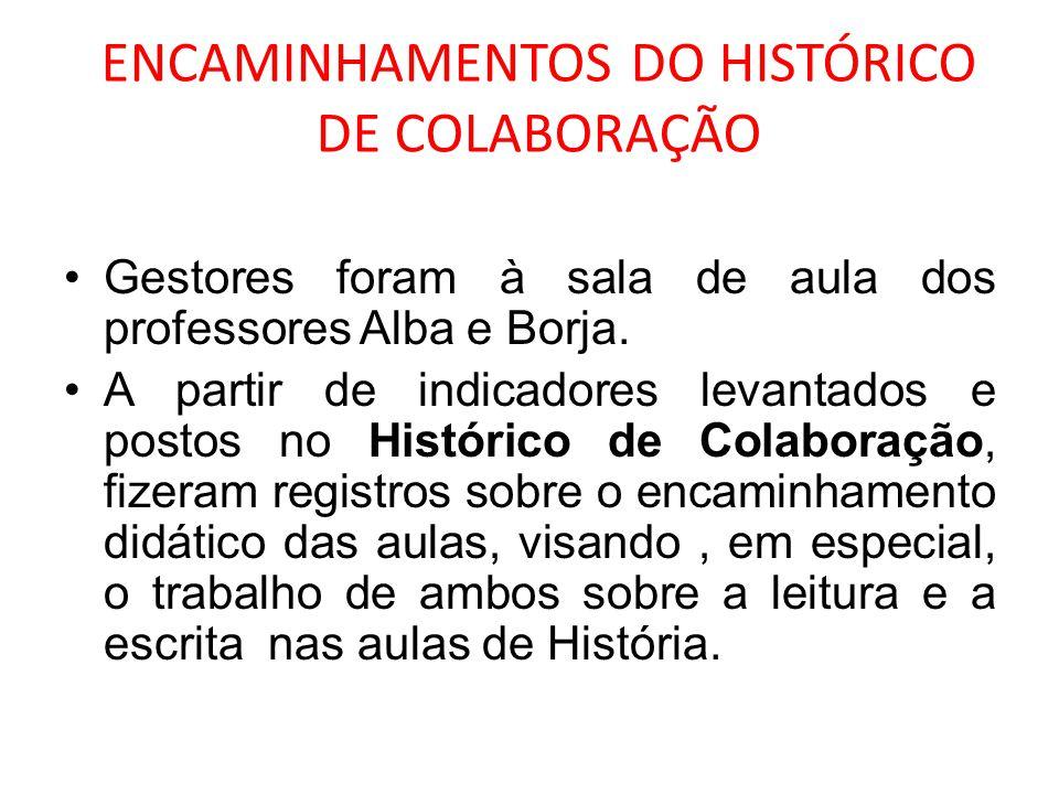 ENCAMINHAMENTOS DO HISTÓRICO DE COLABORAÇÃO Gestores foram à sala de aula dos professores Alba e Borja. A partir de indicadores levantados e postos no
