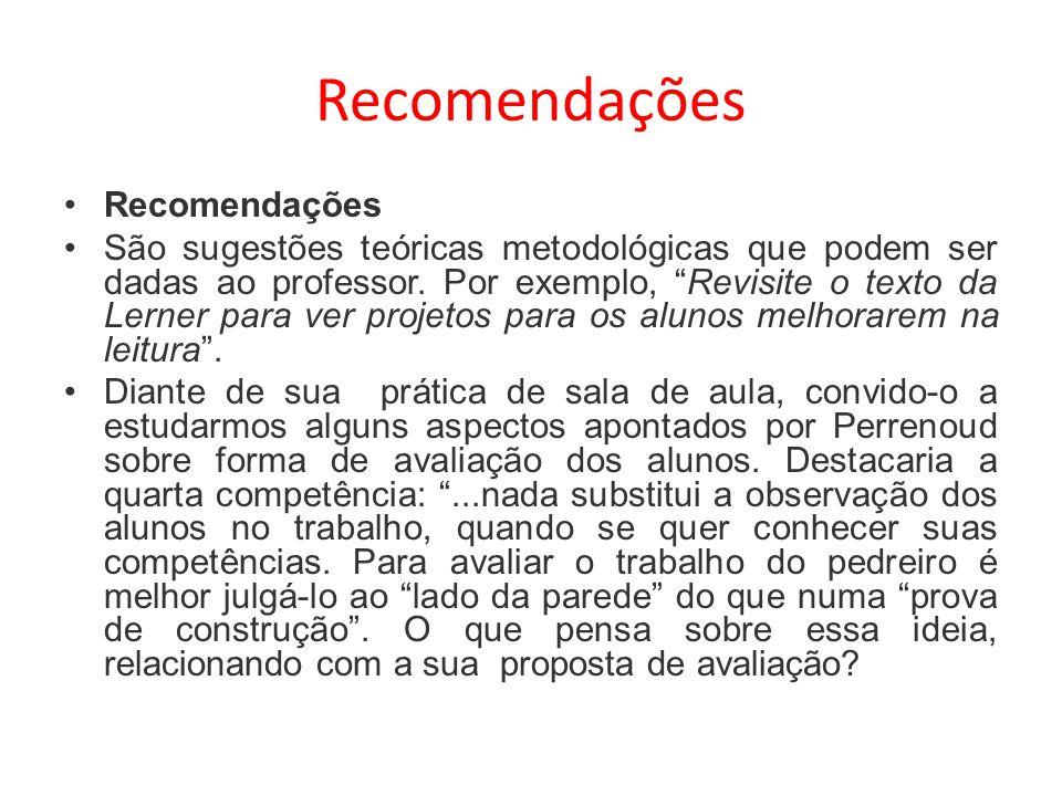 Recomendações São sugestões teóricas metodológicas que podem ser dadas ao professor. Por exemplo, Revisite o texto da Lerner para ver projetos para os