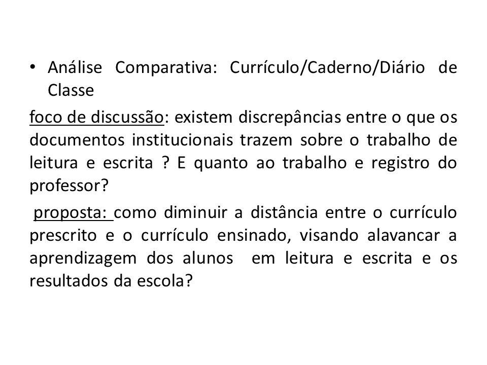 Análise Comparativa: Currículo/Caderno/Diário de Classe foco de discussão: existem discrepâncias entre o que os documentos institucionais trazem sobre