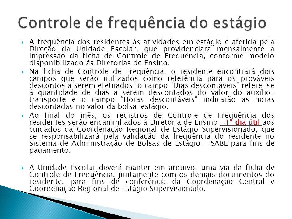 A freqüência dos residentes às atividades em estágio é aferida pela Direção da Unidade Escolar, que providenciará mensalmente a impressão da ficha de
