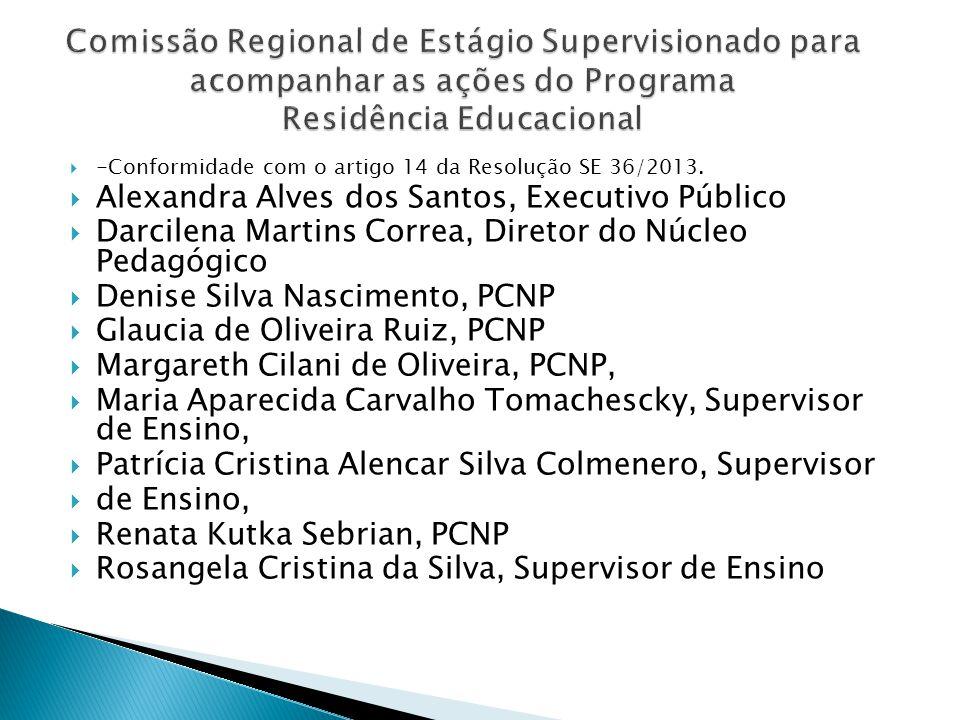-Conformidade com o artigo 14 da Resolução SE 36/2013. Alexandra Alves dos Santos, Executivo Público Darcilena Martins Correa, Diretor do Núcleo Pedag
