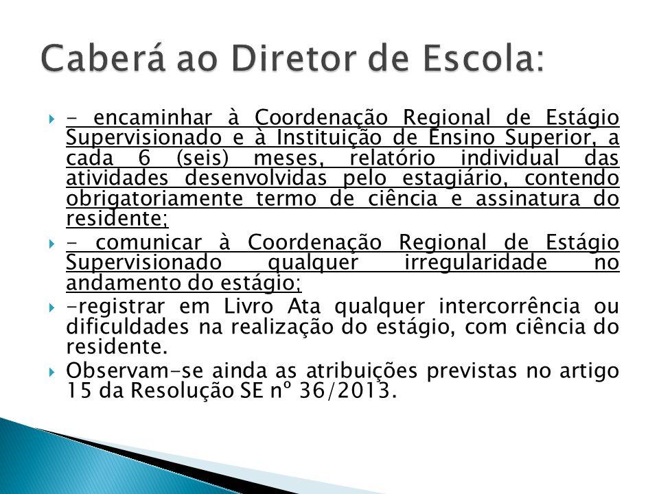 - encaminhar à Coordenação Regional de Estágio Supervisionado e à Instituição de Ensino Superior, a cada 6 (seis) meses, relatório individual das ativ