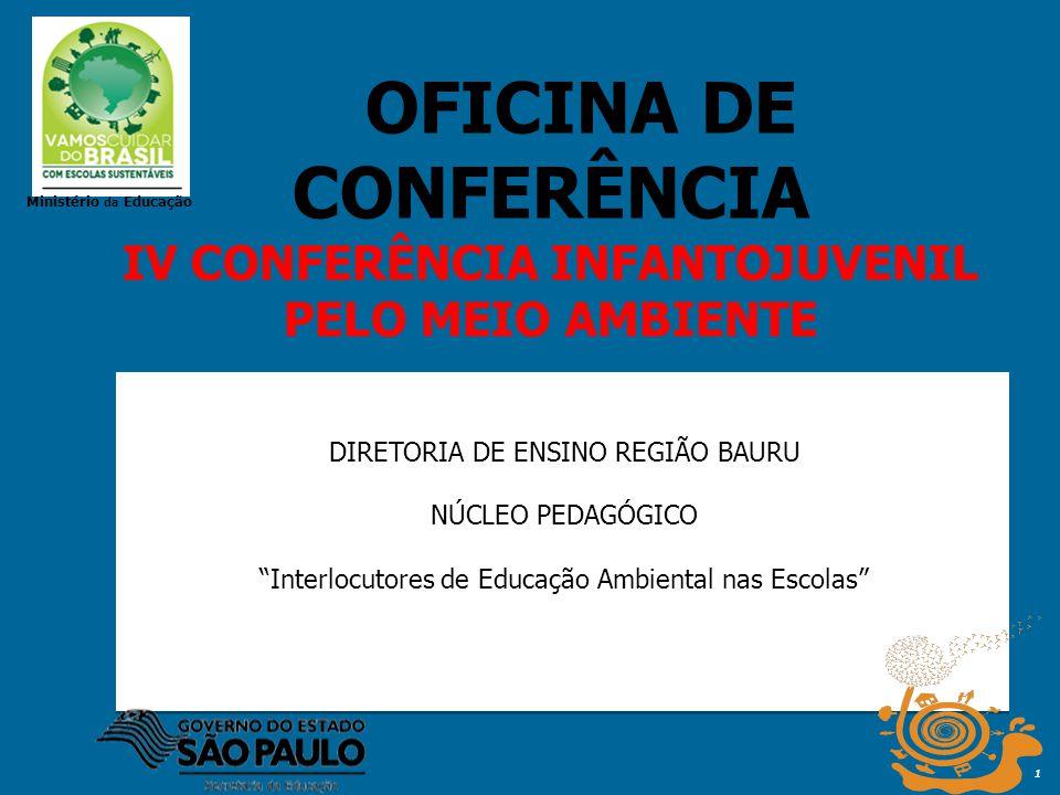 1 DIRETORIA DE ENSINO REGIÃO BAURU NÚCLEO PEDAGÓGICO Interlocutores de Educação Ambiental nas Escolas OFICINA DE CONFERÊNCIA IV CONFERÊNCIA INFANTOJUV