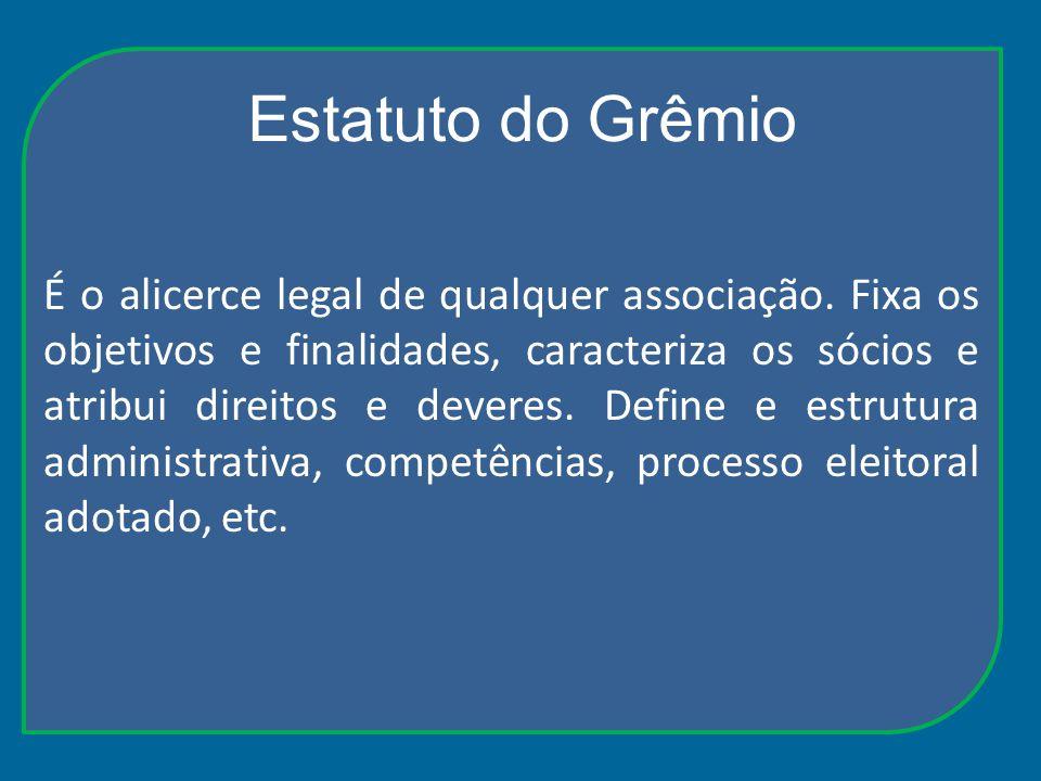 Estatuto do Grêmio É o alicerce legal de qualquer associação. Fixa os objetivos e finalidades, caracteriza os sócios e atribui direitos e deveres. Def