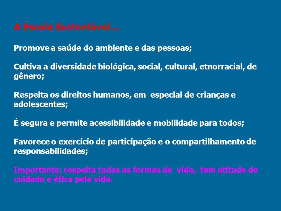 A Escola Sustentável... Promove a saúde do ambiente e das pessoas; Cultiva a diversidade biológica, social, cultural, etnorracial, de gênero; Respeita