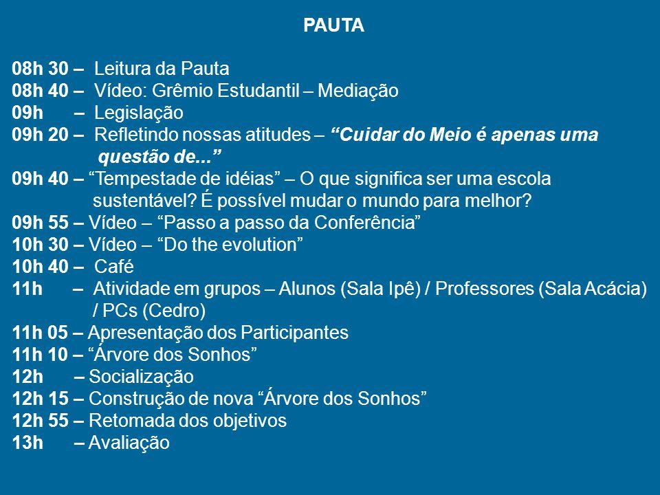 PAUTA 08h 30 – Leitura da Pauta 08h 40 – Vídeo: Grêmio Estudantil – Mediação 09h – Legislação 09h 20 – Refletindo nossas atitudes – Cuidar do Meio é a