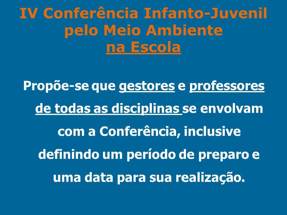 IV Conferência Infanto-Juvenil pelo Meio Ambiente na Escola Propõe-se que gestores e professores de todas as disciplinas se envolvam com a Conferência