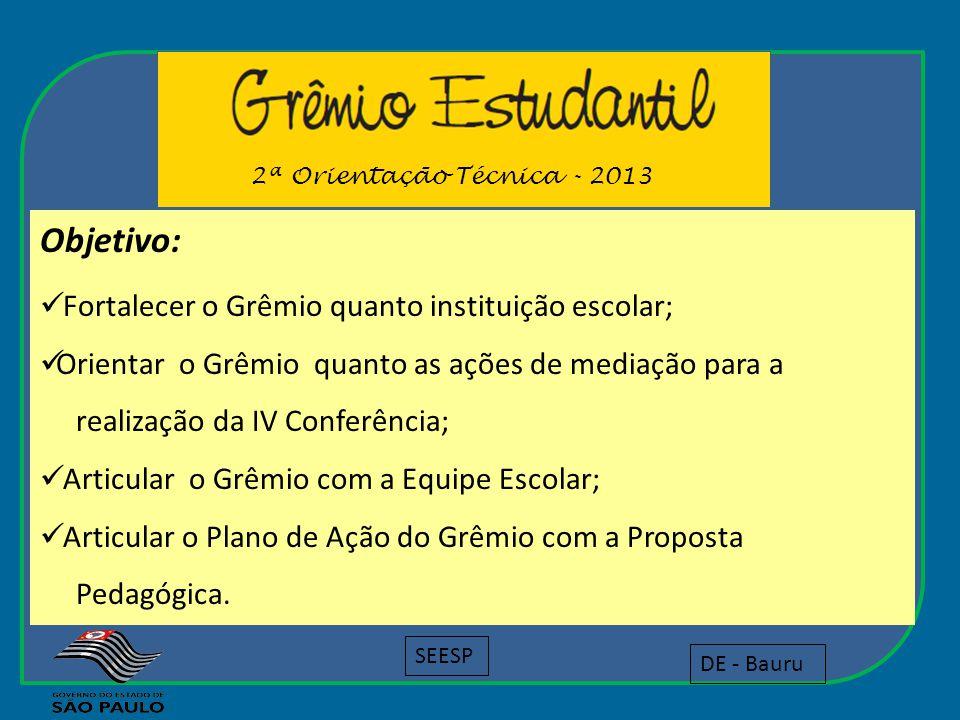 Objetivo: Fortalecer o Grêmio quanto instituição escolar; Orientar o Grêmio quanto as ações de mediação para a realização da IV Conferência; Articular