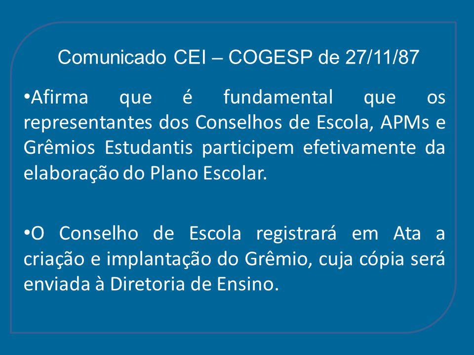 Comunicado CEI – COGESP de 27/11/87 Afirma que é fundamental que os representantes dos Conselhos de Escola, APMs e Grêmios Estudantis participem efeti