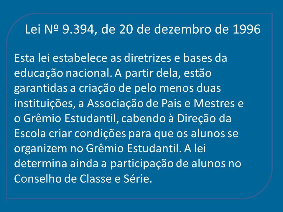 Lei Nº 9.394, de 20 de dezembro de 1996 Esta lei estabelece as diretrizes e bases da educação nacional. A partir dela, estão garantidas a criação de p