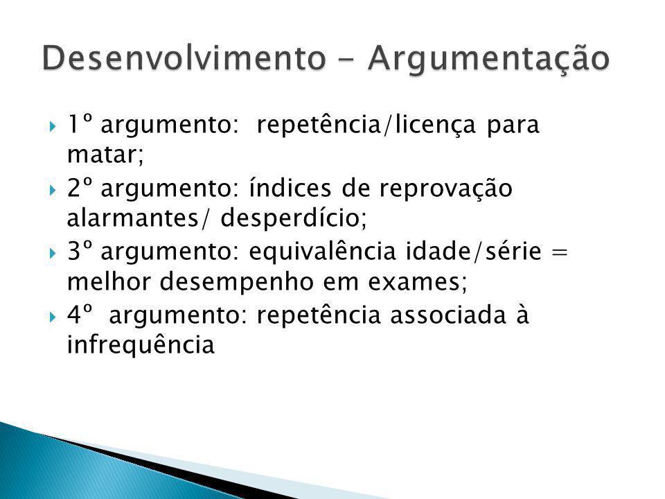 1º argumento: repetência/licença para matar; 2º argumento: índices de reprovação alarmantes/ desperdício; 3º argumento: equivalência idade/série = mel