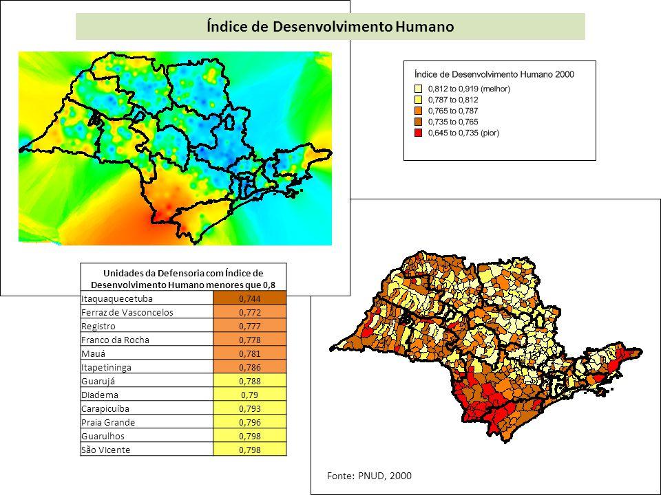 Unidades da Defensoria com os piores níveis de atendimento de coleta de lixo Registro98,21 Franco da Rocha98,75 Itaquaquecetuba98,81 Mogi das Cruzes99,12 Guarujá99,17 Tupã99,20 Osasco99,29 Presidente Prudente99,44 Carapicuíba99,48 Saneamento – coleta de lixo – nível de atendimento (%) Fonte: SEADE, 2010