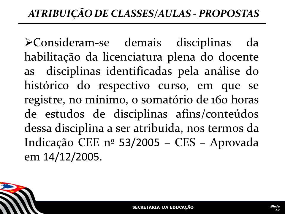 SECRETARIA DA EDUCAÇÃO Slide 12 ATRIBUIÇÃO DE CLASSES/AULAS - PROPOSTAS Consideram-se demais disciplinas da habilitação da licenciatura plena do docen
