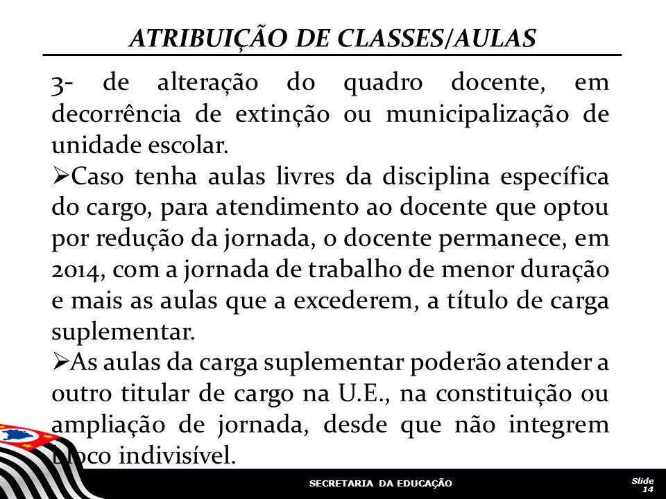 SECRETARIA DA EDUCAÇÃO Slide 14 3- de alteração do quadro docente, em decorrência de extinção ou municipalização de unidade escolar. Caso tenha aulas