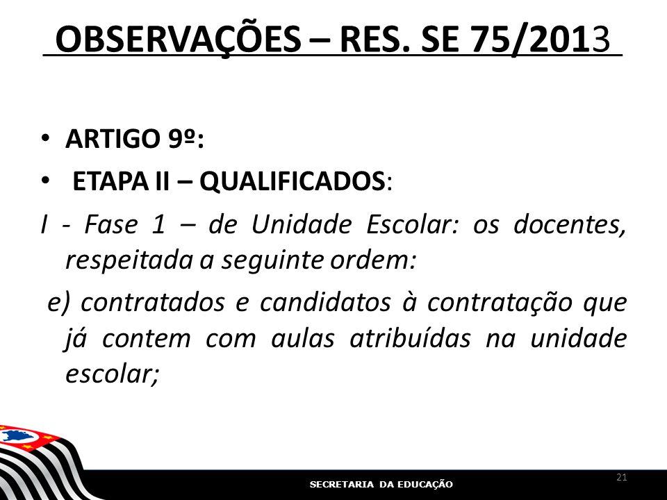 SECRETARIA DA EDUCAÇÃO OBSERVAÇÕES – RES. SE 75/2013 ARTIGO 9º: ETAPA II – QUALIFICADOS: I - Fase 1 – de Unidade Escolar: os docentes, respeitada a se
