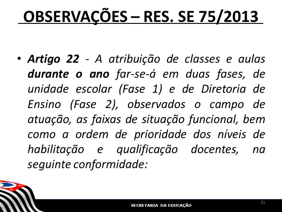 SECRETARIA DA EDUCAÇÃO OBSERVAÇÕES – RES. SE 75/2013 Artigo 22 - A atribuição de classes e aulas durante o ano far-se-á em duas fases, de unidade esco
