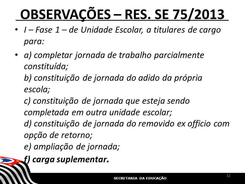 SECRETARIA DA EDUCAÇÃO OBSERVAÇÕES – RES. SE 75/2013 I – Fase 1 – de Unidade Escolar, a titulares de cargo para: a) completar jornada de trabalho parc