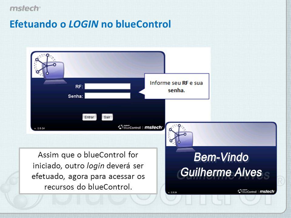 O login do professor no blueControl é o número de seu RF e sua senha são os quatro últimos dígitos do RF.