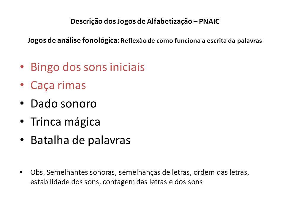 Descrição dos Jogos de Alfabetização – PNAIC Jogos de análise fonológica: Reflexão de como funciona a escrita da palavras Bingo dos sons iniciais Caça rimas Dado sonoro Trinca mágica Batalha de palavras Obs.
