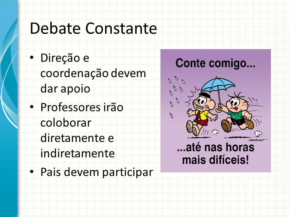 Debate Constante Direção e coordenação devem dar apoio Professores irão coloborar diretamente e indiretamente Pais devem participar
