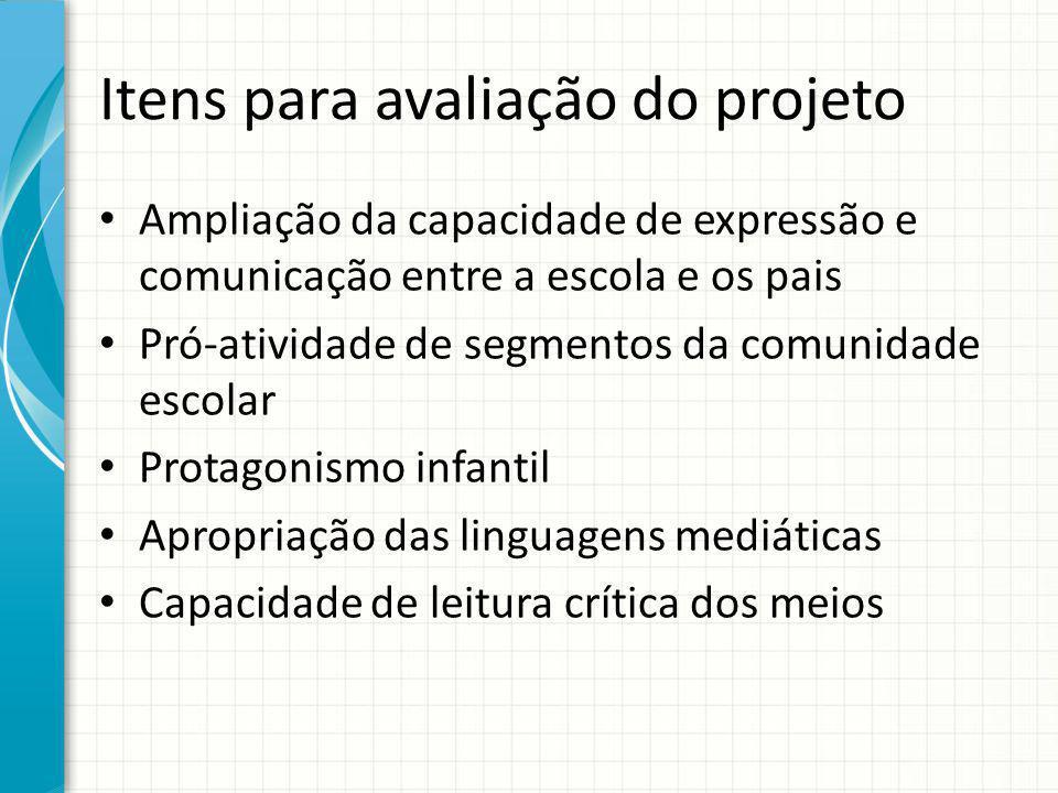 Itens para avaliação do projeto Ampliação da capacidade de expressão e comunicação entre a escola e os pais Pró-atividade de segmentos da comunidade e