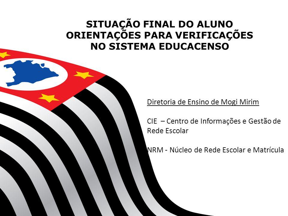SITUAÇÃO FINAL DO ALUNO ORIENTAÇÕES PARA VERIFICAÇÕES NO SISTEMA EDUCACENSO Diretoria de Ensino de Mogi Mirim CIE – Centro de Informações e Gestão de