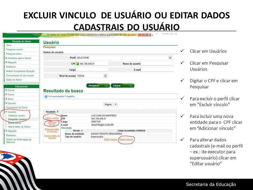 EXCLUIR VINCULO DE USUÁRIO OU EDITAR DADOS CADASTRAIS DO USUÁRIO Clicar em Usuários Clicar em Pesquisar Usuários Digitar o CPF e clicar em Pesquisar P