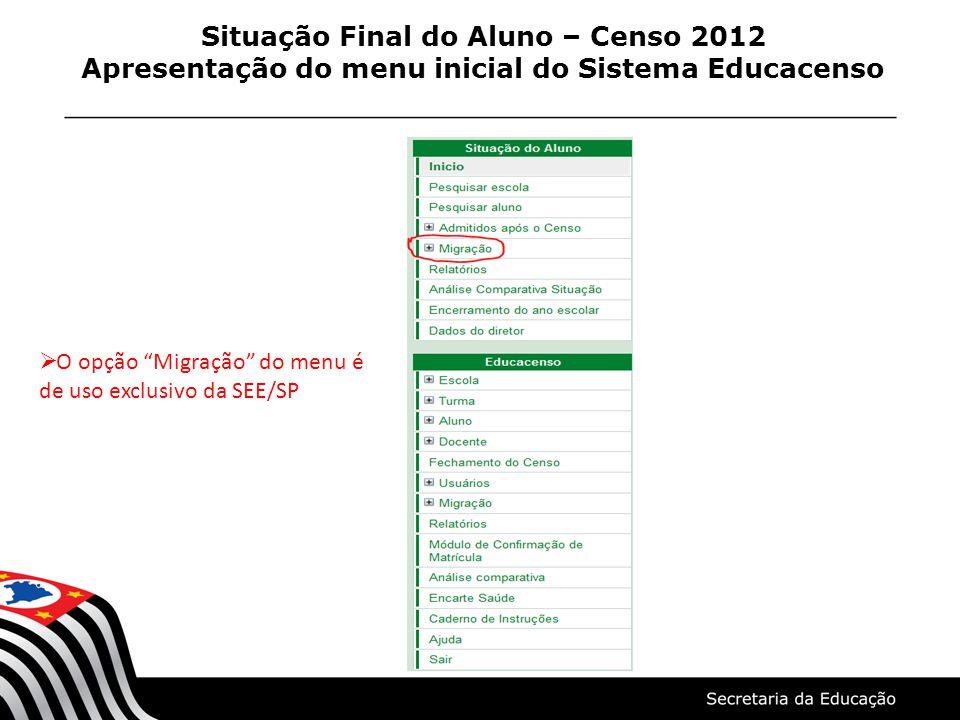 Situação Final do Aluno – Censo 2012 Apresentação do menu inicial do Sistema Educacenso O opção Migração do menu é de uso exclusivo da SEE/SP