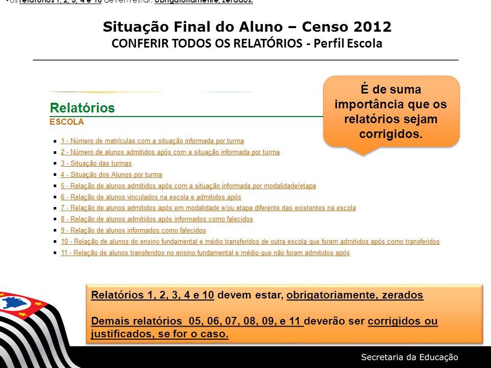 Situação Final do Aluno – Censo 2012 CONFERIR TODOS OS RELATÓRIOS - Perfil Escola Relatórios 1, 2, 3, 4 e 10 devem estar, obrigatoriamente, zerados De