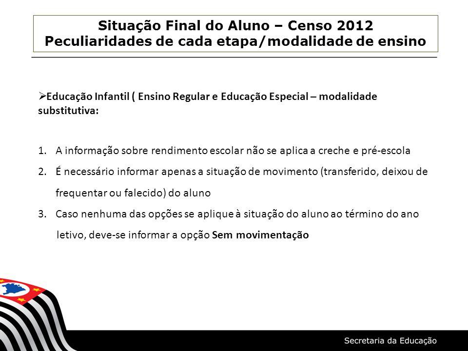 Situação Final do Aluno – Censo 2012 Peculiaridades de cada etapa/modalidade de ensino Educação Infantil ( Ensino Regular e Educação Especial – modali