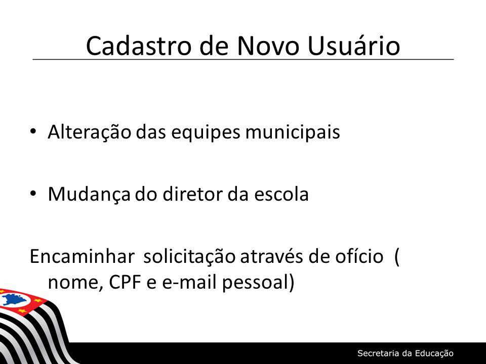 Cadastro de Novo Usuário Alteração das equipes municipais Mudança do diretor da escola Encaminhar solicitação através de ofício ( nome, CPF e e-mail p