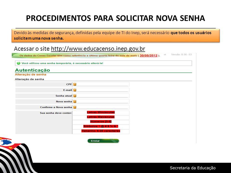 PROCEDIMENTOS PARA SOLICITAR NOVA SENHA Acessar o site http://www.educacenso.inep.gov.br Devido às medidas de segurança, definidas pela equipe de TI d