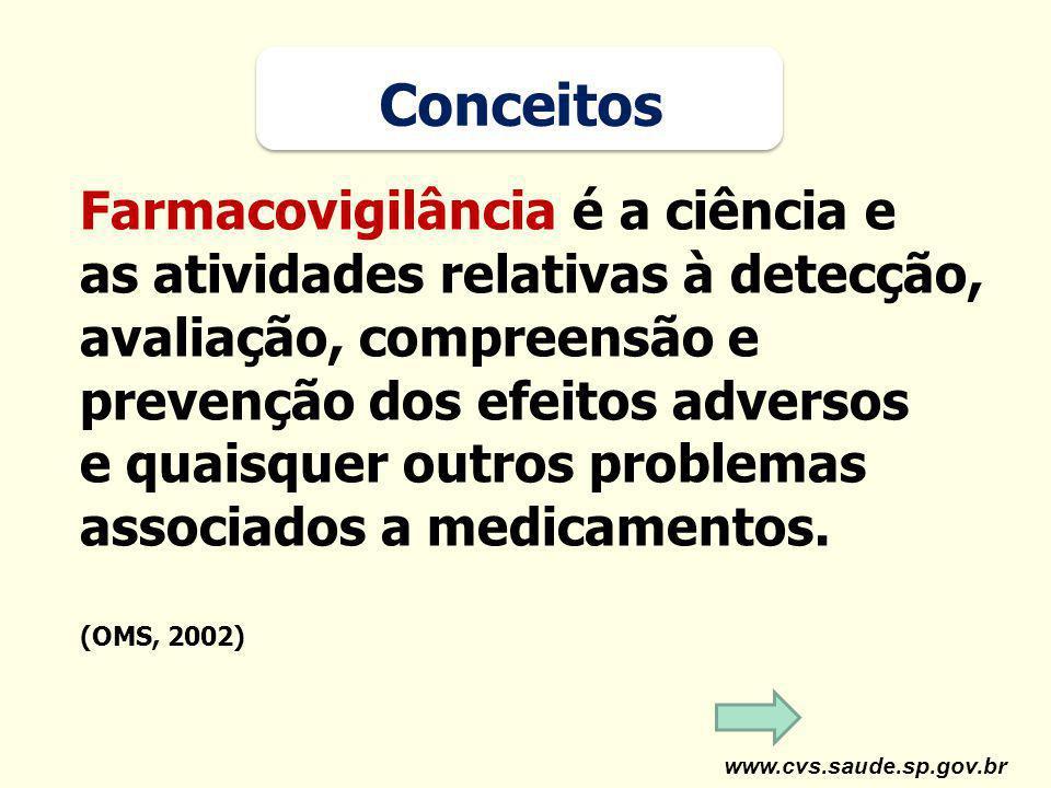 www.cvs.saude.sp.gov.br Farmacovigilância é a ciência e as atividades relativas à detecção, avaliação, compreensão e prevenção dos efeitos adversos e