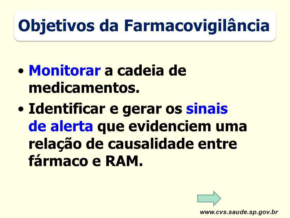 www.cvs.saude.sp.gov.br Monitorar a cadeia de medicamentos. Identificar e gerar os sinais de alerta que evidenciem uma relação de causalidade entre fá