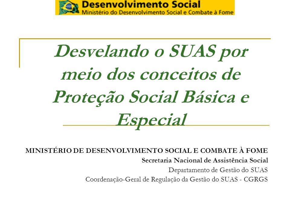 Desvelando o SUAS por meio dos conceitos de Proteção Social Básica e Especial MINISTÉRIO DE DESENVOLVIMENTO SOCIAL E COMBATE À FOME Secretaria Nacional de Assistência Social Departamento de Gestão do SUAS Coordenação-Geral de Regulação da Gestão do SUAS - CGRGS