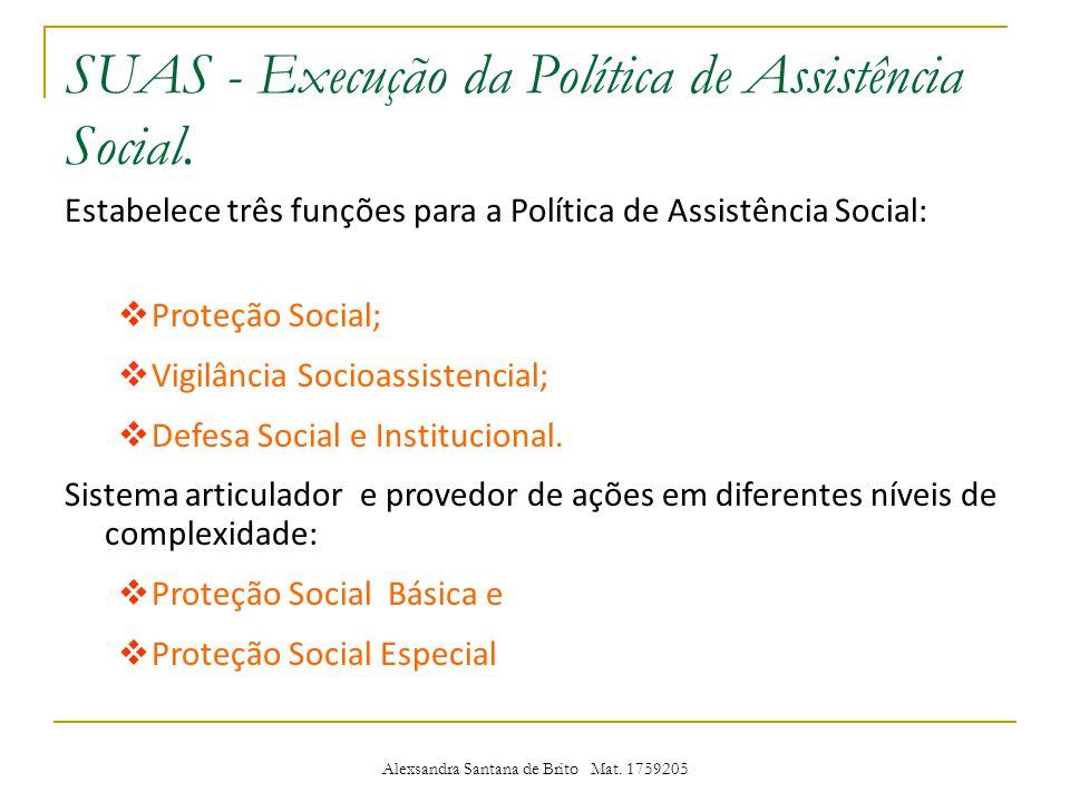 SUAS - Execução da Política de Assistência Social.