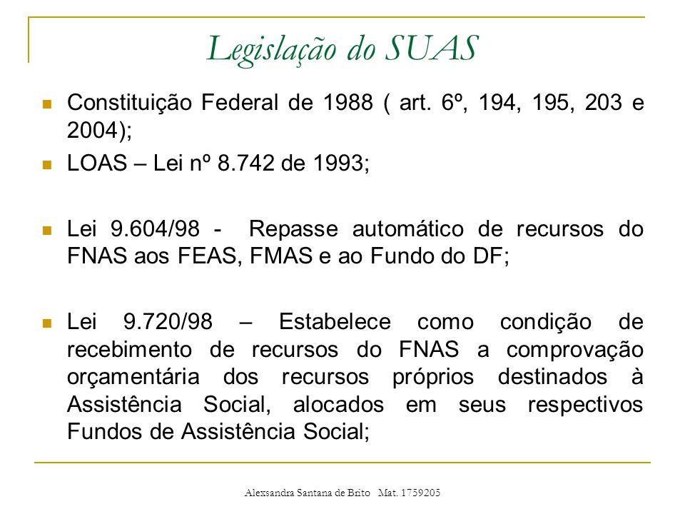 Legislação do SUAS Constituição Federal de 1988 ( art.